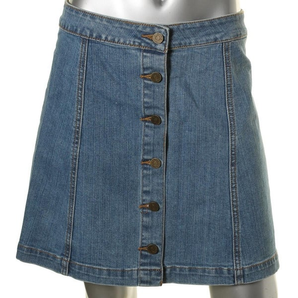 Pistola Womens Arabella Denim Skirt Button Closure A-Line
