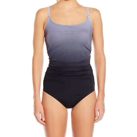Speedo Gray Black Women's Size 12 One-Piece Ombre Gathered Swimwear