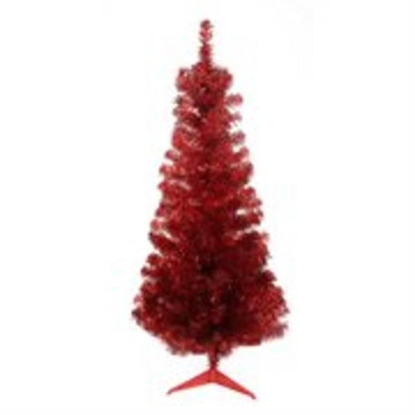 "4' x 24"" Red Tinsel Medium Artificial Christmas Tree - Unlit"