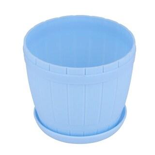 Family Yard Garden Plastic Bucket Designed Flower Plant Pot Holder Decor Blue