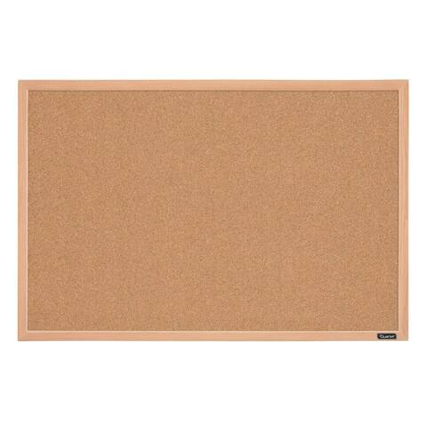 "Quartet 35-380352 Basics Cork Bulletin Board with Oak Frame, 23"" x 35"""