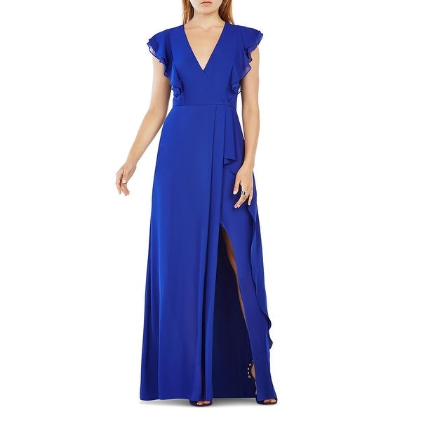 Shop BCBG Max Azria Womens Callie Evening Dress Ruffled V Neck ...