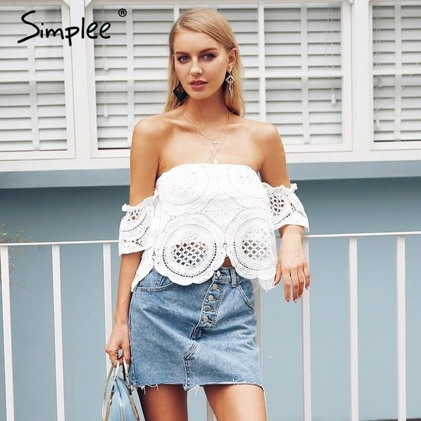 efcf04d80f4 Simplee Off shoulder hot lace crop top women Hollow out white blouse shirt  2018 Elegant flare