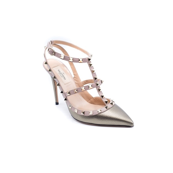 e0be9121b6 Shop Valentino Women's Metallic Rockstud T-Strap Pumps - Free ...