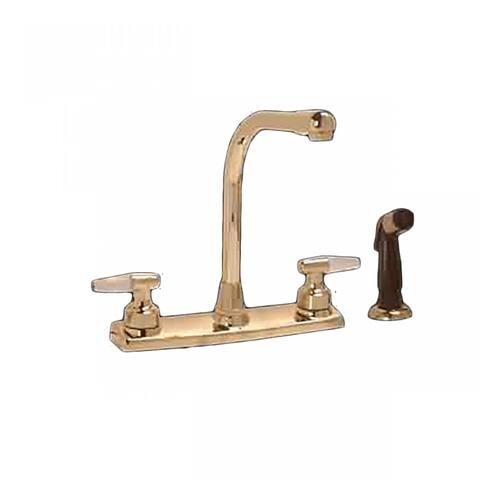 Widespread Kitchen Faucet Brass High Neck 2 Handles Sprayer Renovator's Supply