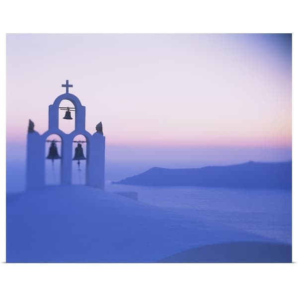 """""""Bell tower of a church at sunset, Santorini, Greece"""" Poster Print"""