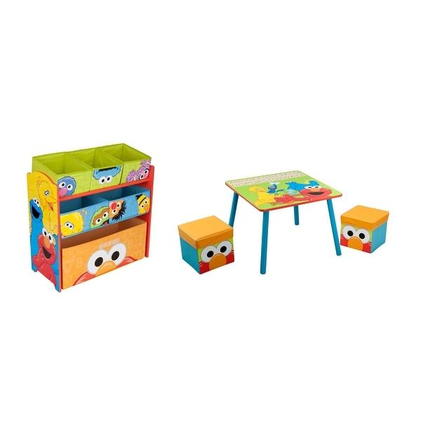 Delta Sesame Street Table, Ottoman and Organizer Set - Multi-Color
