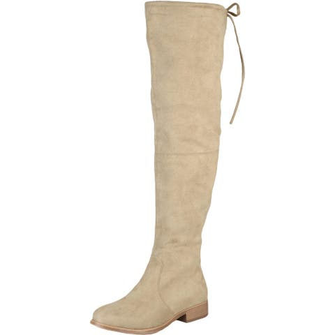 Journee Collection Womens Mount Over-The-Knee Boots Faux Suede Wide Calf