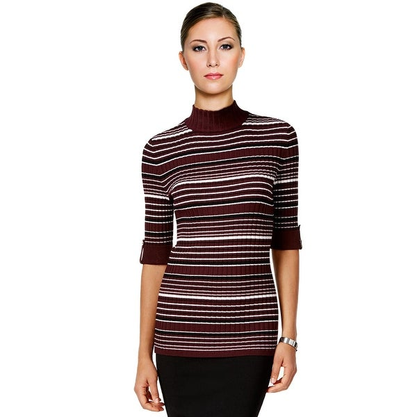 Style & Co Mock Turtleneck Striped Sweater Dried Plum Combo