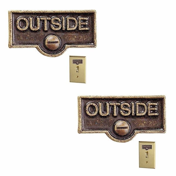 2 Switch Plate Tags OUTSIDE Name Signs Labels Antique Brass