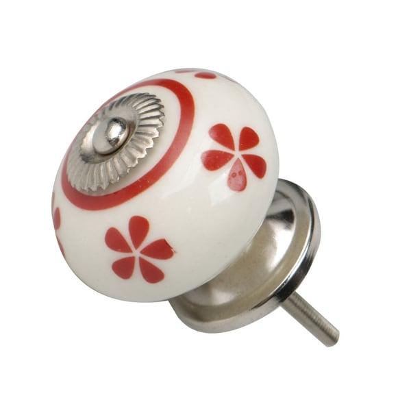 Ceramic Knobs Knobs Drawer Round Pull Handle Furniture Drawer Cupboard Wardrobe Dresser Door Decorative Red # 2 - Pink - 1pcs