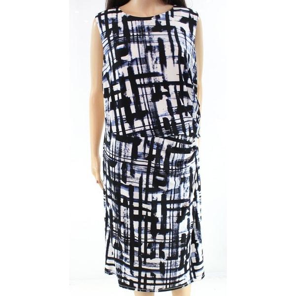 8126cefe1694 Shop Eliza J Womens Plus Geo-Print Gathered Sheath Dress - Free ...