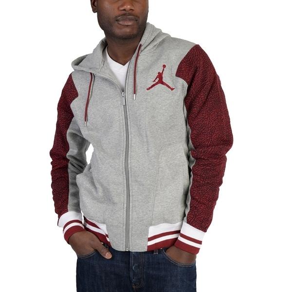 0a468889fbba Nike Jordan Varsity Elephant Full Zip Jacket Grey Red - grey burgundy black