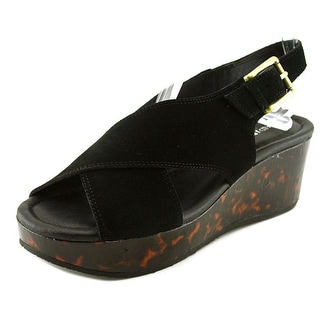donald j pliner outlet t6kw  Donald J Pliner Sahar Women Open Toe Suede Black Wedge Sandal