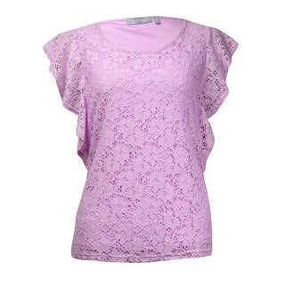 NY Collection Women's Fluttered Lace Overlay Top