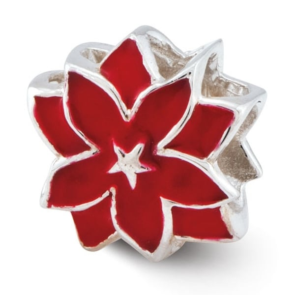 Sterling Silver Reflections Red Enameled Flower Bead (4mm Diameter Hole)