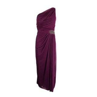 Alex Evenings Women's Petite Beaded One-Shoulder Chiffon Gown - sangria