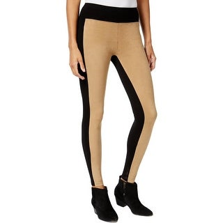 Kensie Womens Leggings Faux Suede Contrast