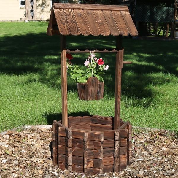 Shop Sunnydaze 2 Tier Wooden Wishing Well Outdoor Patio Garden