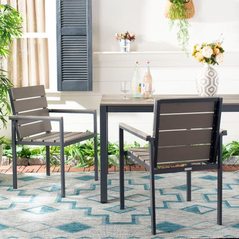 "SAFAVIEH Outdoor Living Beldan Chair - Taupe (Set of 2) - 22.6""x22.2""x33"""
