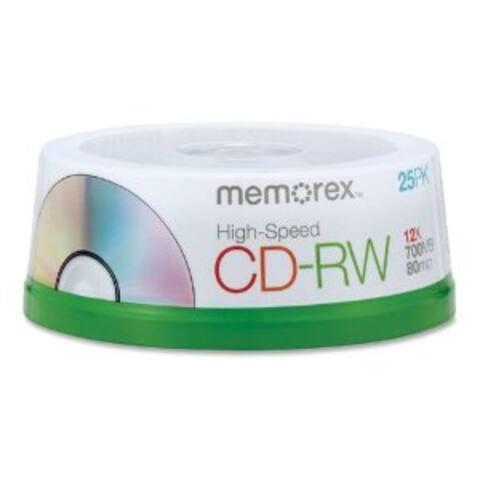 Memorex CD-R/W, 80 min, Branded, 4X-12X High Speed, 25pk Spindle