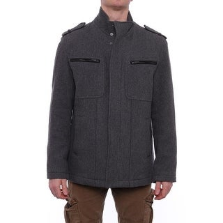 Cole Haan Epaulet Zipper and Snap Up Jacket Basic Jacket GRY