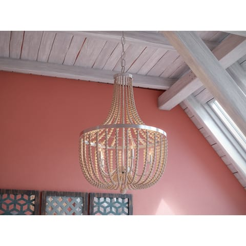 Zander 5 Light Chandelier - Brushed Steel with White Wood Beads