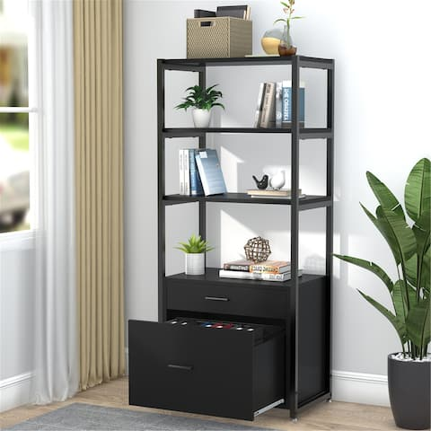 Bookcase Bookshelf, 4-Tier Modern File Cabinet with 2 Drawers