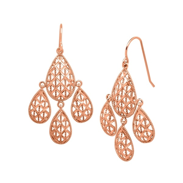 edecd2581 Shop Just Gold Chandelier Mesh Earrings in 10K Rose Gold - Pink - On Sale - Free  Shipping Today - Overstock - 13883929