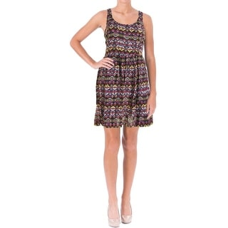 Aqua Womens Juniors Casual Dress Printed Cut-Out
