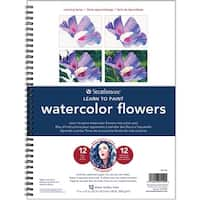 """Strathmore Learn To Paint Wire Pad 9""""X12""""-Watercolor Flowers"""
