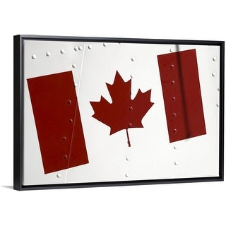 """""""Canadian flag painted on the exterior of an airplane"""" Black Float Frame Canvas Art"""