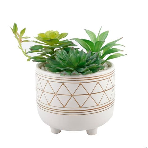 "Artificial Plant in 6"" FOOTED GOLD GEO CERAMIC Pot - ONE-SIZE"