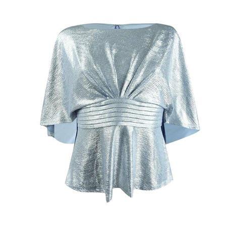 Adrianna Papell Women's Petite Metallic Capelet Peplum Top (8P, Silver Blue) - 8P