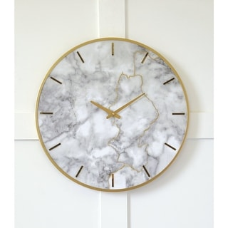 """Link to Jazmin Contemporary Glam White/Gold Wall Clock - 23.6"""" W x 2"""" D x 23.6"""" H Similar Items in Decorative Accessories"""