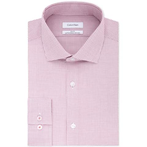 Calvin Klein Mens Non-Iron Stretch Button Up Dress Shirt