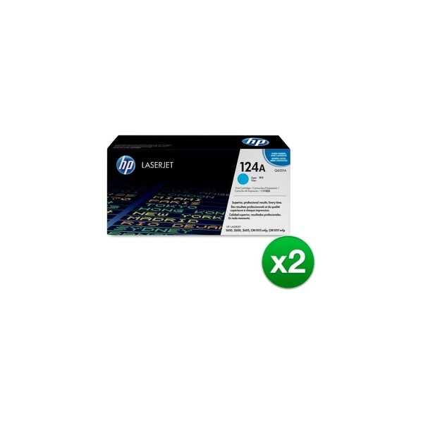 HP 124A Cyan Original LaserJet Toner Cartridge (Q6001A)(2-Pack)