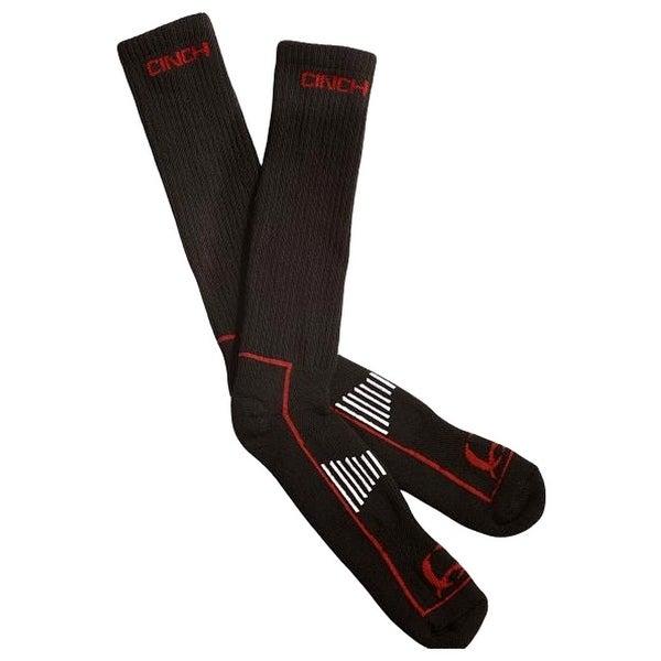 Cinch Socks Mens Boot Reinforced Comfort Logo Black