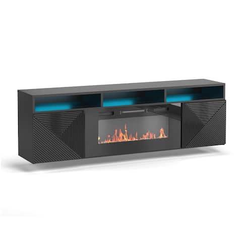 "Giza EF Wall Mounted Electric Fireplace Modern 63"" TV Stand"