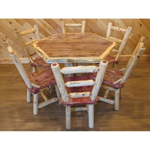 Red Cedar Log - Hexagon Table Set
