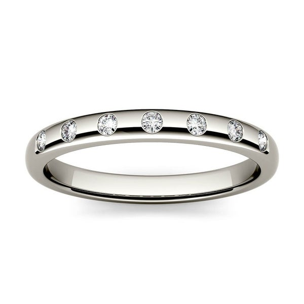 14k White or Yellow Gold 1/10ct Moissanite Stackable Band. Opens flyout.