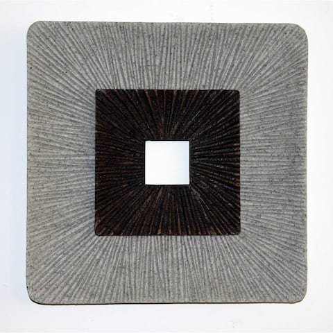 Modern Brown and Gray Ribbed Square Wall Art