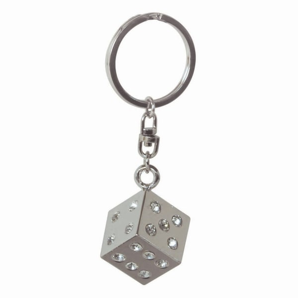 Pilot Automotive Silver Crystal Dice Key Chain