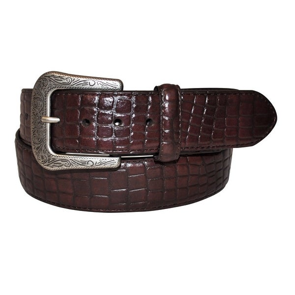 G-BAR-D Western Belt Mens Croco Print Etch Dark Brown