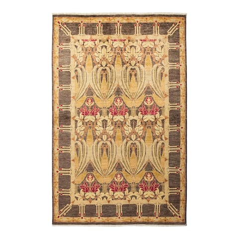 """Arts & Crafts, One-of-a-Kind Hand-Knotted Area Rug - Brown, 4' 10"""" x 7' 8"""" - 4' 10"""" x 7' 8"""""""