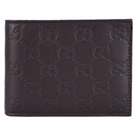 Gucci Men's 150403 Brown Leather GG Guccissima Bifold Wallet W/Coin Pocket