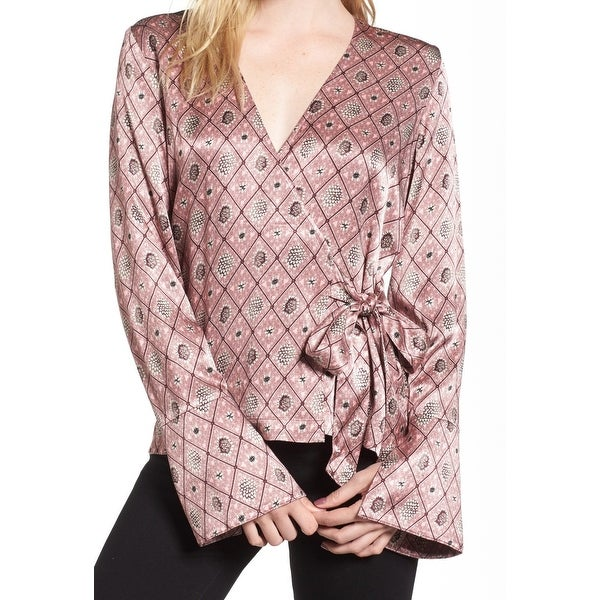 0188b557f9be74 Shop Chelsea28 Womens Small Diamond Print Satin Wrap Blouse - On Sale -  Free Shipping On Orders Over $45 - Overstock - 26930895