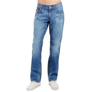 True Religion Men's Straight Flap Camo Horseshoe Jeans 38 Blue Atlas