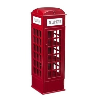 Southern Enterprises HZ7631 Phone Booth Storage Cabinet - Red