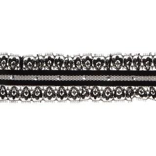 """Ruffle Lace W/ Rhinestones 1-7/8""""X10yd-Black"""